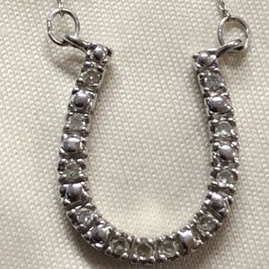 "White gold and diamond 19"" horseshoe necklace"